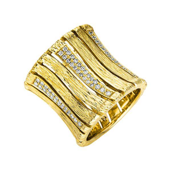 18 kt sárga arany több köves gyűrű 138 gyémánttal 1U361G854-1