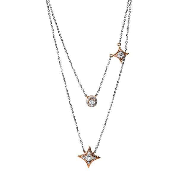 18 kt vörös arany / fehérarany nyaklánc 19 gyémánttal 4F706RW8-1