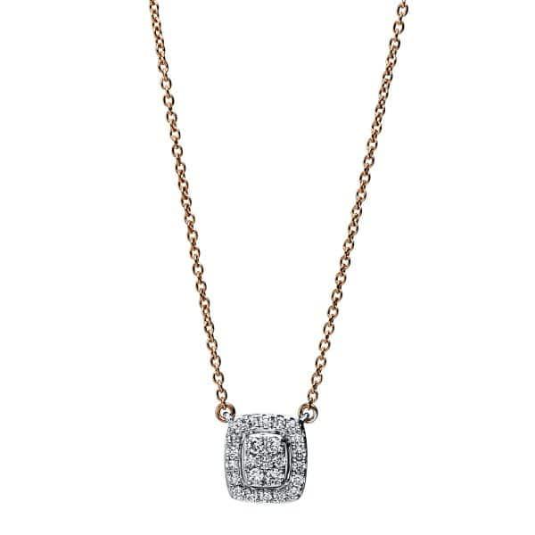 18 kt vörös arany / fehérarany nyaklánc 25 gyémánttal 4F792RW8-1