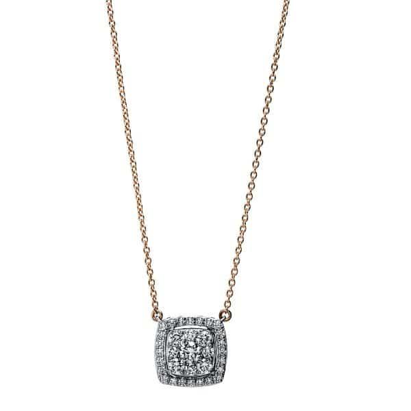 18 kt vörös arany / fehérarany nyaklánc 33 gyémánttal 4F788RW8-1