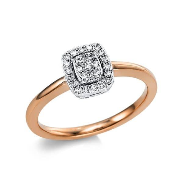 18 kt vörös arany / fehérarany több köves gyűrű 25 gyémánttal 1V670RW854-1