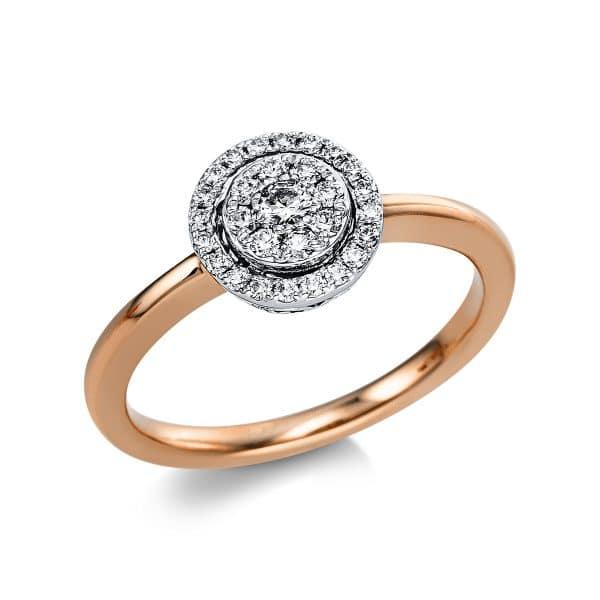18 kt vörös arany / fehérarany több köves gyűrű 29 gyémánttal 1V668RW854-1