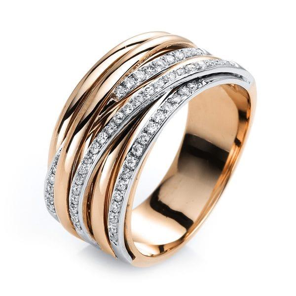 18 kt vörös arany / fehérarany több köves gyűrű 56 gyémánttal 1G420RW854-3