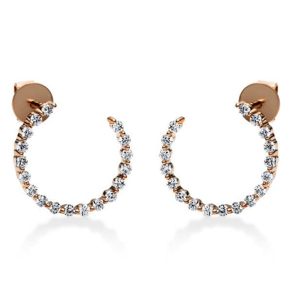 18 kt vörös arany fülbevaló 100 gyémánttal 2I201R8-1