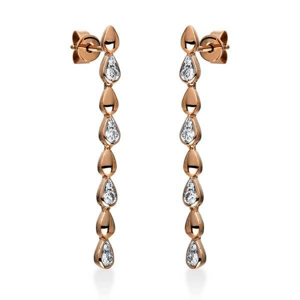 18 kt vörös arany fülbevaló 16 gyémánttal 2G585R8-1