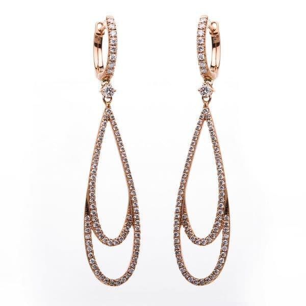 18 kt vörös arany fülbevaló 168 gyémánttal 2B906R8-3