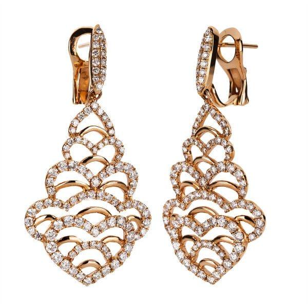 18 kt vörös arany fülbevaló 200 gyémánttal 2A094R8-1