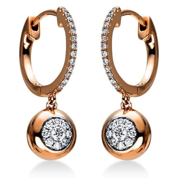 18 kt vörös arany fülbevaló 44 gyémánttal 2J006R8-1