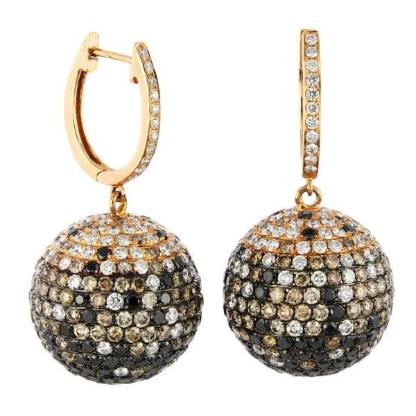 18 kt vörös arany fülbevaló 672 gyémánttal 2A009R8-1
