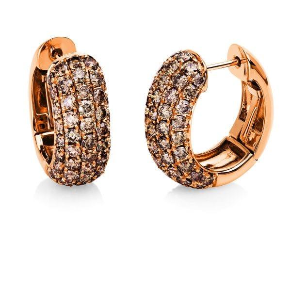 18 kt vörös arany karika és huggie 98 gyémánttal 2E558R8-1