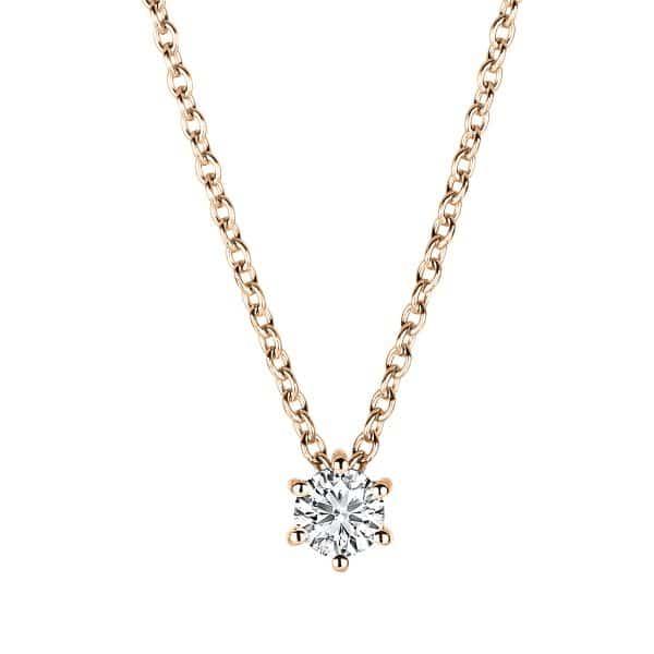 18 kt vörös arany nyaklánc 1 gyémánttal 4A375R8-1