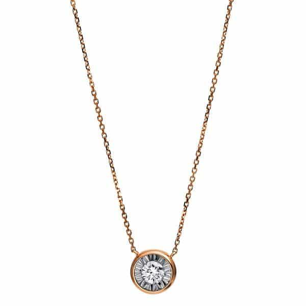 18 kt vörös arany nyaklánc 1 gyémánttal 4E210R8-1