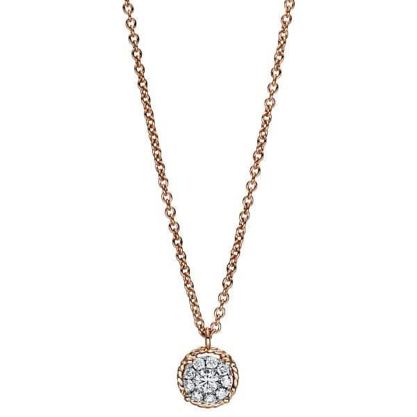 18 kt vörös arany nyaklánc 10 gyémánttal 4F361R8-1