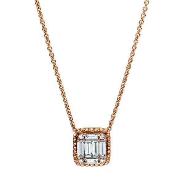 18 kt vörös arany nyaklánc 10 gyémánttal 4F377R8-2