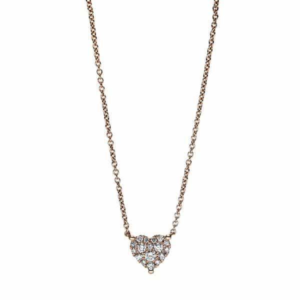 18 kt vörös arany nyaklánc 17 gyémánttal 4F620R8-1