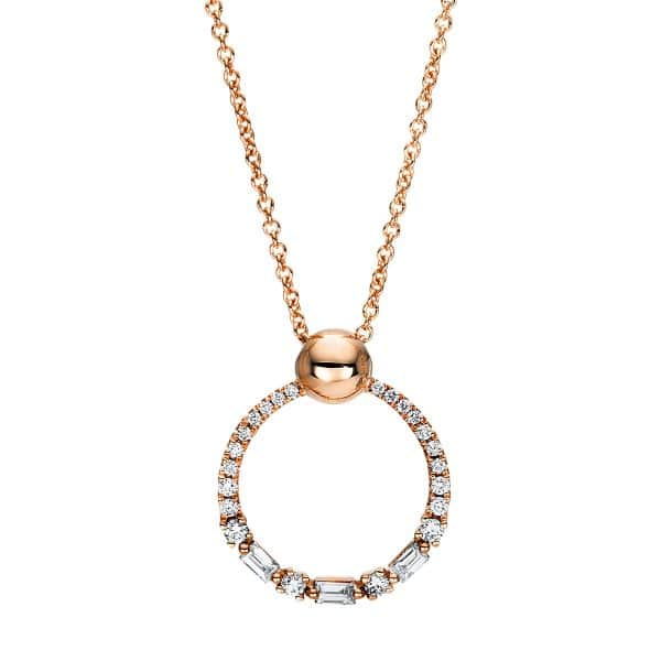 18 kt vörös arany nyaklánc 25 gyémánttal 4F390R8-1