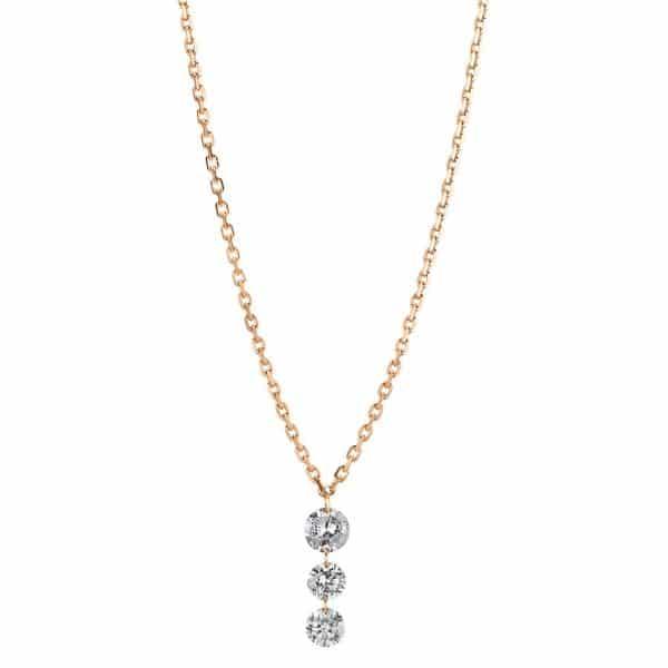 18 kt vörös arany nyaklánc 3 gyémánttal 4A356R8-1
