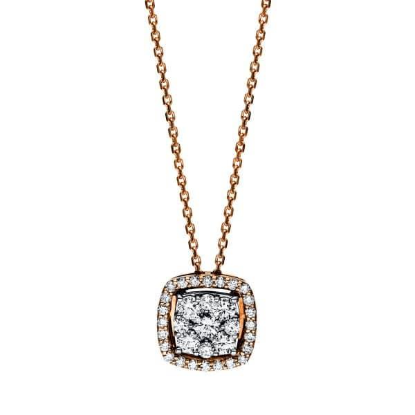 18 kt vörös arany nyaklánc 33 gyémánttal 4F114R8-1