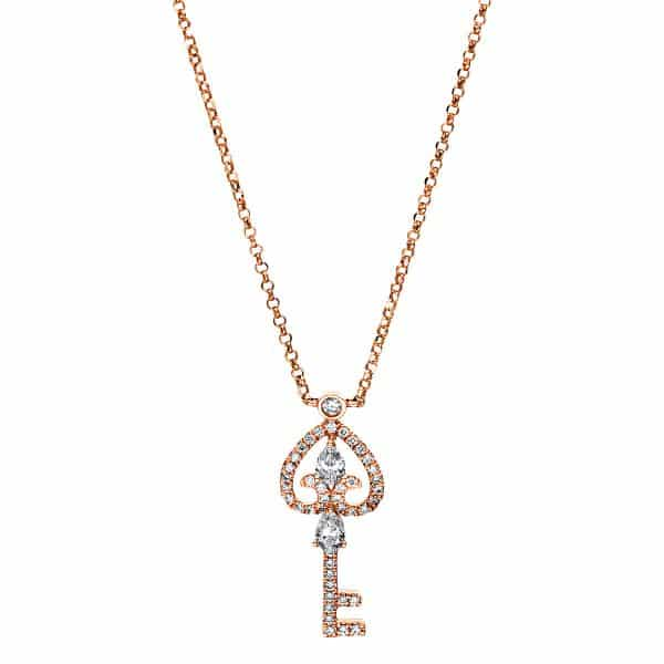 18 kt vörös arany nyaklánc 46 gyémánttal 4F542R8-1