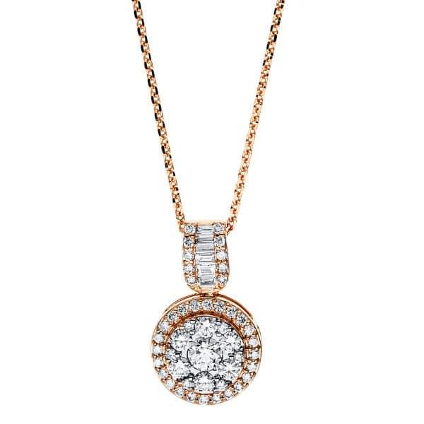18 kt vörös arany nyaklánc 53 gyémánttal 4F589R8-1