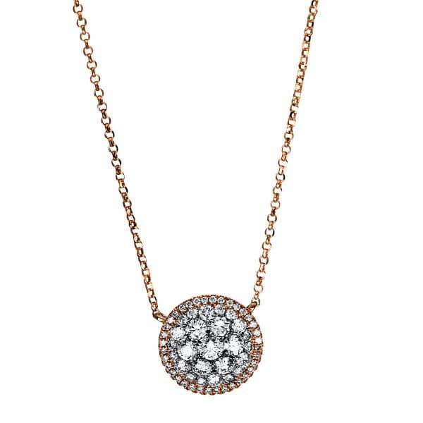 18 kt vörös arany nyaklánc 65 gyémánttal 4E888R8-1