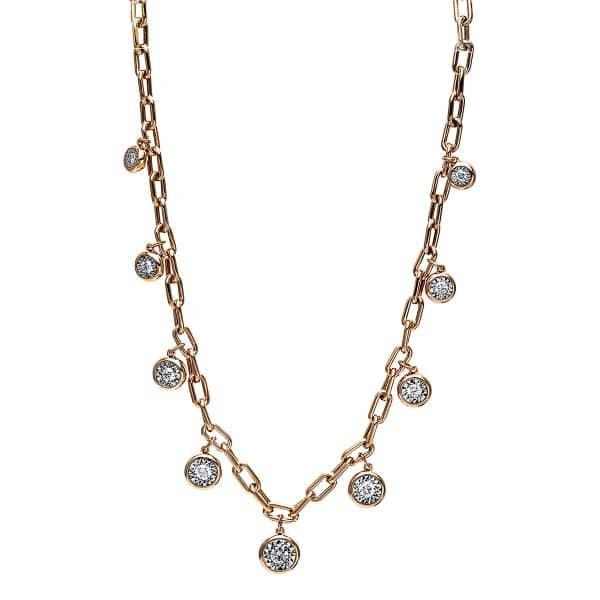 18 kt vörös arany nyaklánc 9 gyémánttal 4F780R8-1