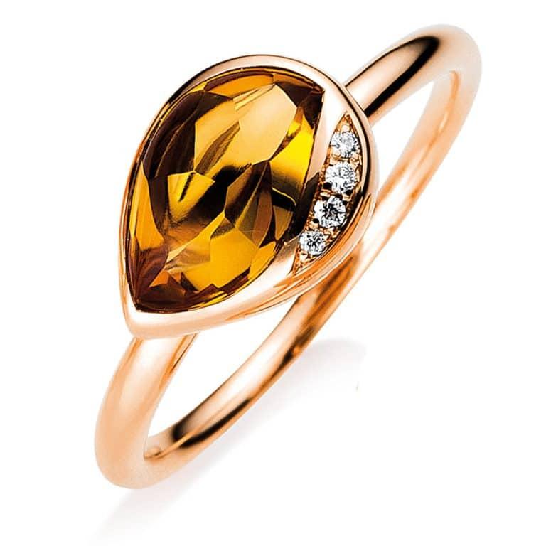 18 kt vörös arany színes drágakő 4 gyémánttal