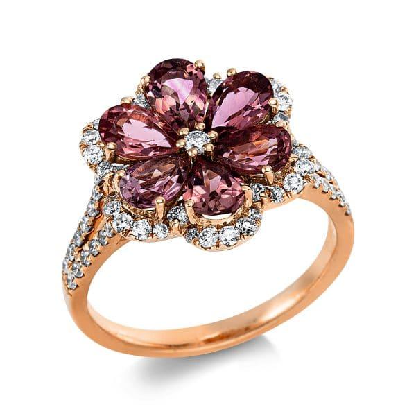 18 kt vörös arany színes drágakő 65 gyémánttal