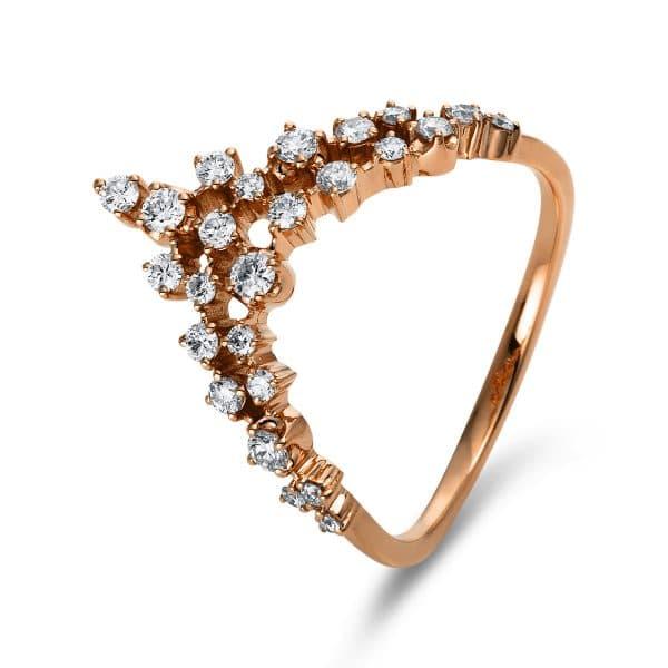 18 kt vörös arany több köves gyűrű 25 gyémánttal 1N567R858-1