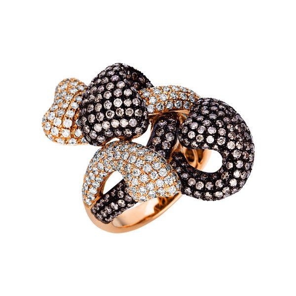 18 kt vörös arany több köves gyűrű 482 gyémánttal 1U362R854-1