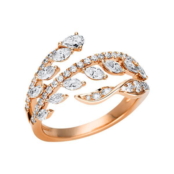 18 kt vörös arany több köves gyűrű 56 gyémánttal 1U288R853-1