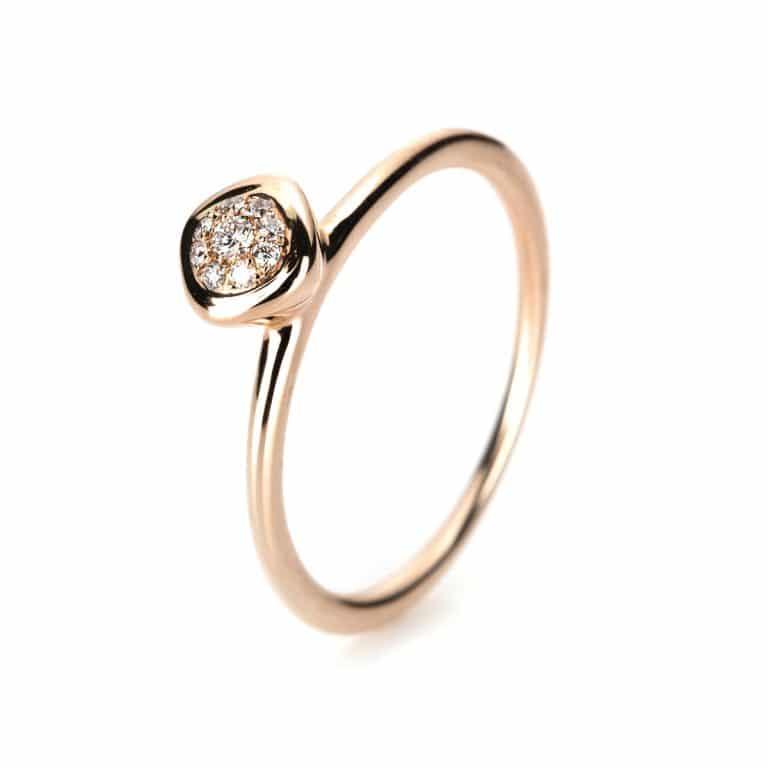 18 kt vörös arany több köves gyűrű 9 gyémánttal 1B322R8535-1