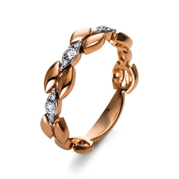 18 kt vörös arany több köves gyűrű 9 gyémánttal 1S038R854-1