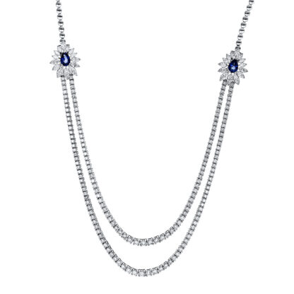18 kt white gold necklace with 196 diamonds