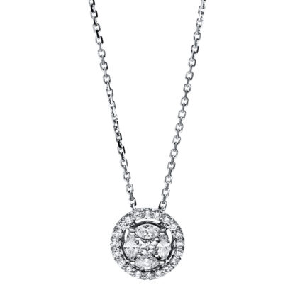 18 kt white gold necklace with 25 diamonds 4F585W8-1