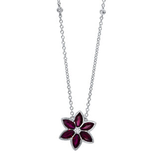 18 kt white gold necklace with 5 diamonds