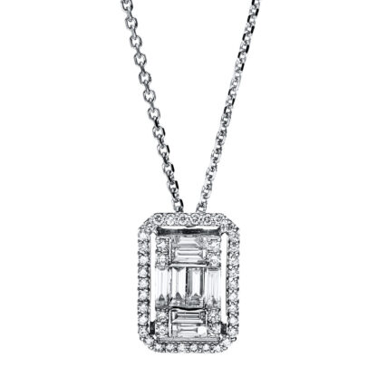 18 kt white gold necklace with 50 diamonds 4F584W8-1