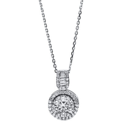 18 kt white gold necklace with 53 diamonds 4F589W8-1
