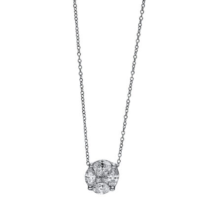18 kt white gold necklace with 8 diamonds 4E907W8-3