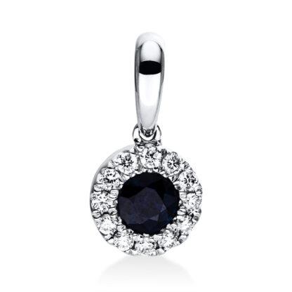 18 kt white gold pendant with 12 diamonds