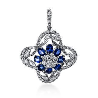 18 kt white gold pendant with 21 diamonds