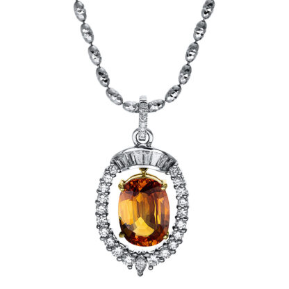 18 kt white gold / yellow gold necklace with 35 diamonds