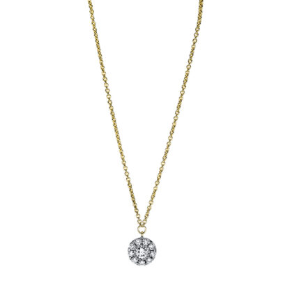 18 kt yellow gold necklace with 10 diamonds 4F630G8-1