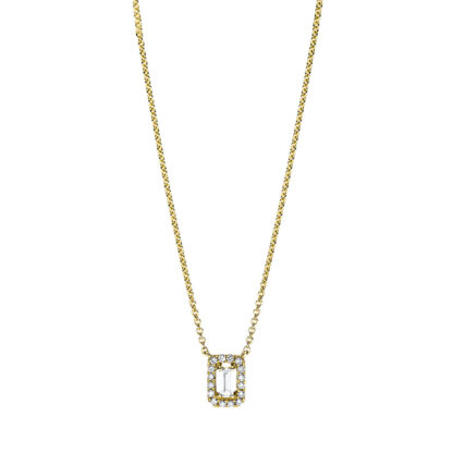 18 kt yellow gold necklace with 17 diamonds 4F659G8-1