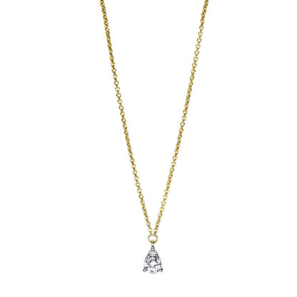 18 kt yellow gold necklace with 2 diamonds 4F381G8-1
