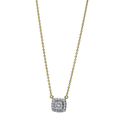 18 kt yellow gold / white gold necklace with 25 diamonds 4F786GW8-1