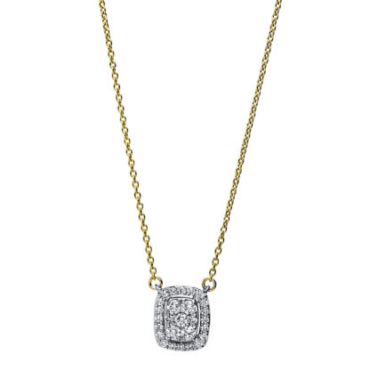 18 kt yellow gold / white gold necklace with 27 diamonds 4F793GW8-1