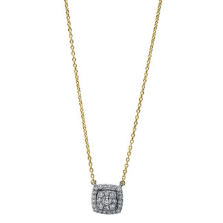 18 kt yellow gold / white gold necklace with 29 diamonds 4F787GW8-1