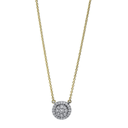 18 kt yellow gold / white gold necklace with 29 diamonds 4F790GW8-1