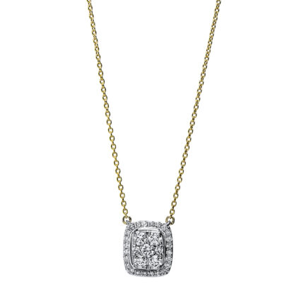 18 kt yellow gold / white gold necklace with 31 diamonds 4F794GW8-1